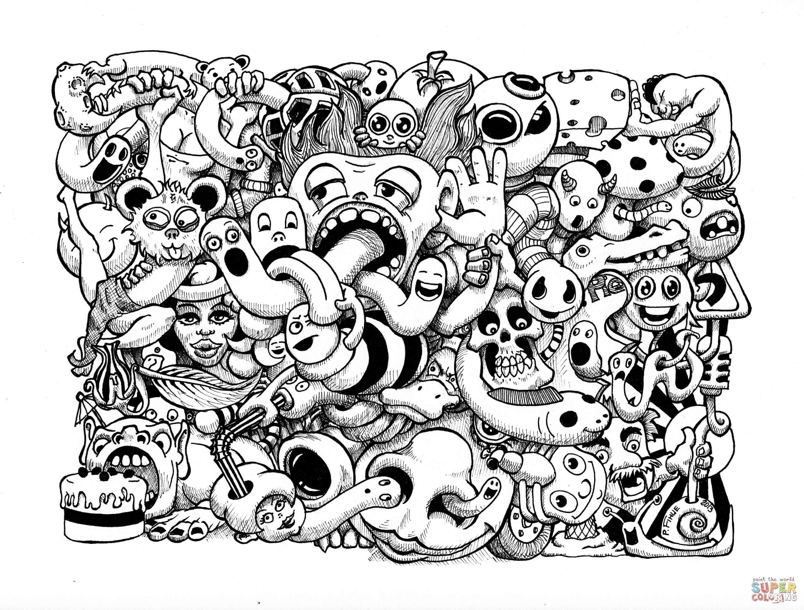 Doodle Art Coloring Pages  Doodle Art by Pierre Fihue coloring page