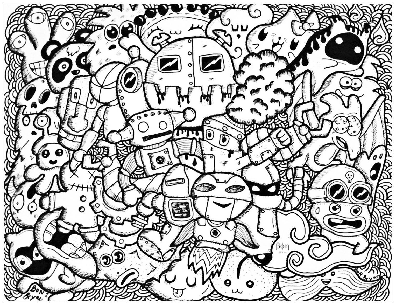 Doodle Art Coloring Pages  Doodle rigolo Doodles Coloriages difficiles pour adultes