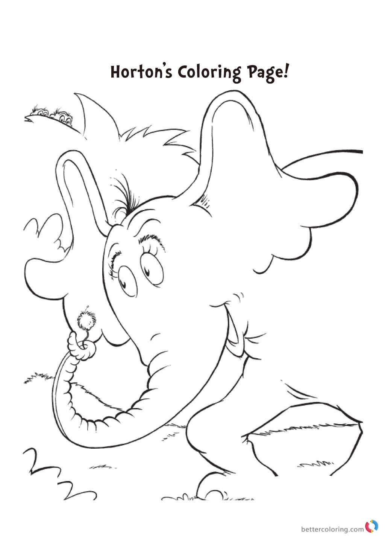 Dr.Seuss Coloring Book  Dr Seuss coloring pages HORTON Free Printable Coloring Pages