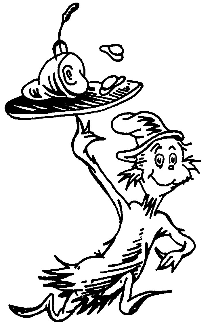 Dr Seuss Coloring Pages For Kids  Dr Seuss Black And White