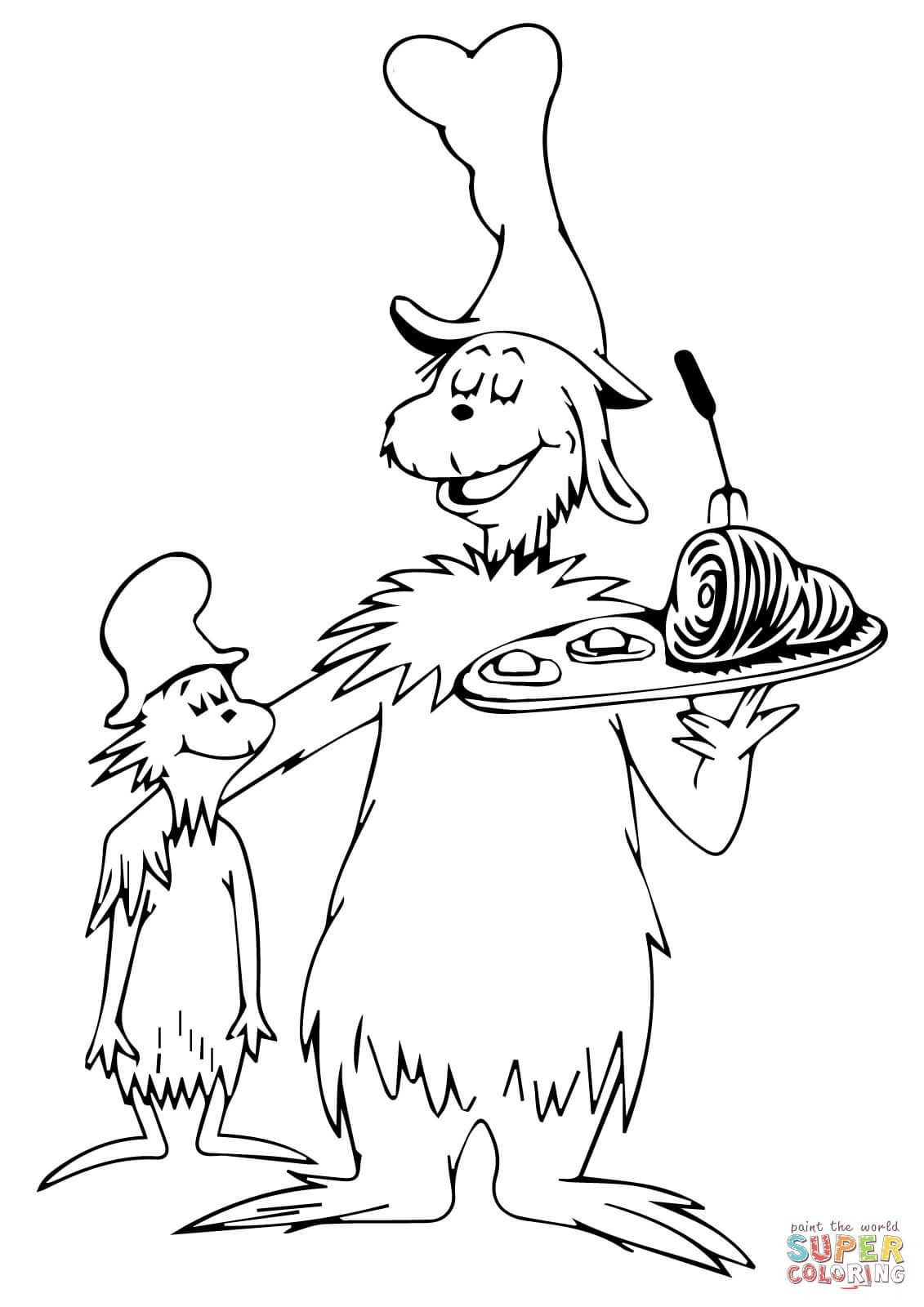 Dr. Seuss Preschool Coloring Sheets  Green eggs and ham coloring page