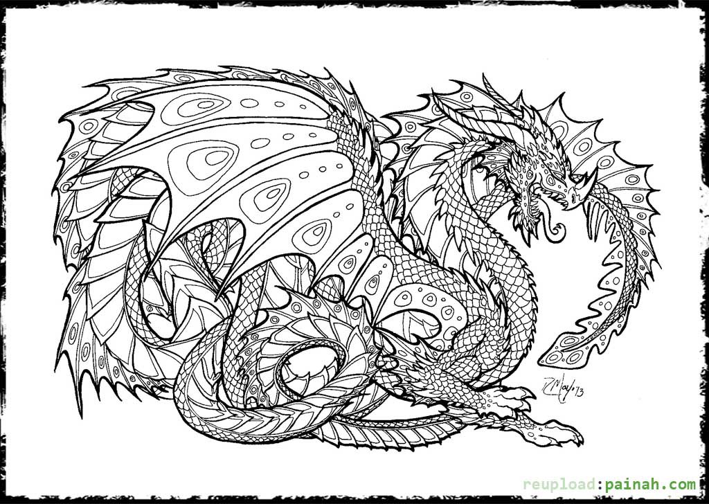 Best ideas about Dragon Adult Coloring Books . Save or Pin Coloring Pages For Adults Difficult Dragons The Color Panda Now.