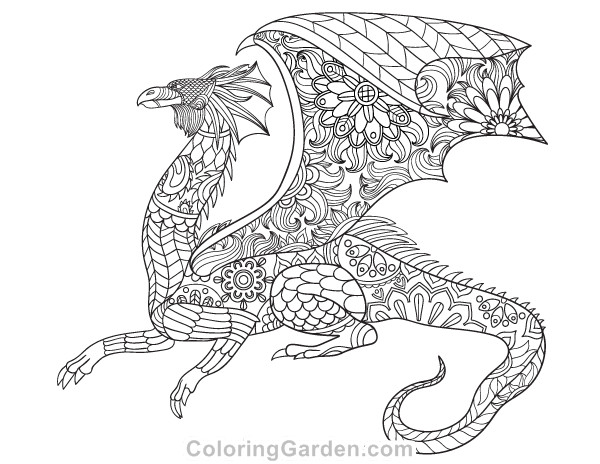 Best ideas about Dragon Adult Coloring Books . Save or Pin Dragon Adult Coloring Page Now.