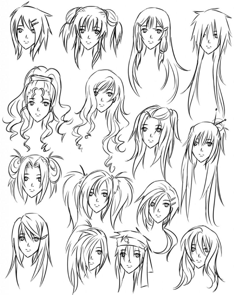 Drawing Anime Hairstyles  Draw Anime Girl Hair Girl Anime Hair