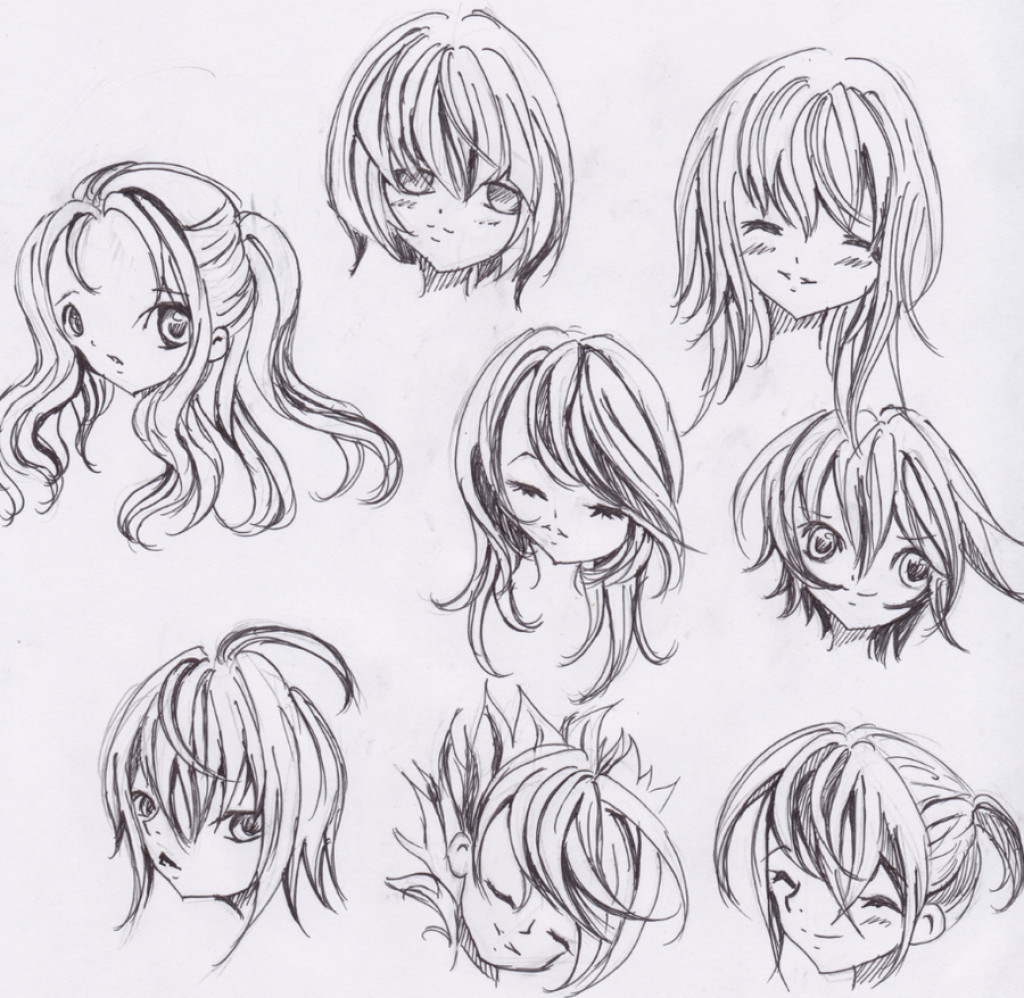 Drawings Of Anime Hairstyles  Cool Anime Drawing Ideas Drawing Sketch Library