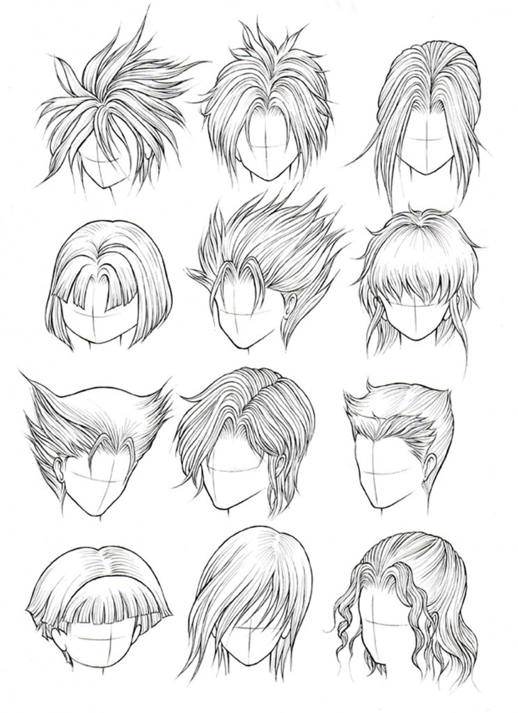 Drawings Of Anime Hairstyles  Drawing Anime Hairstyles Drawing Sketch Library