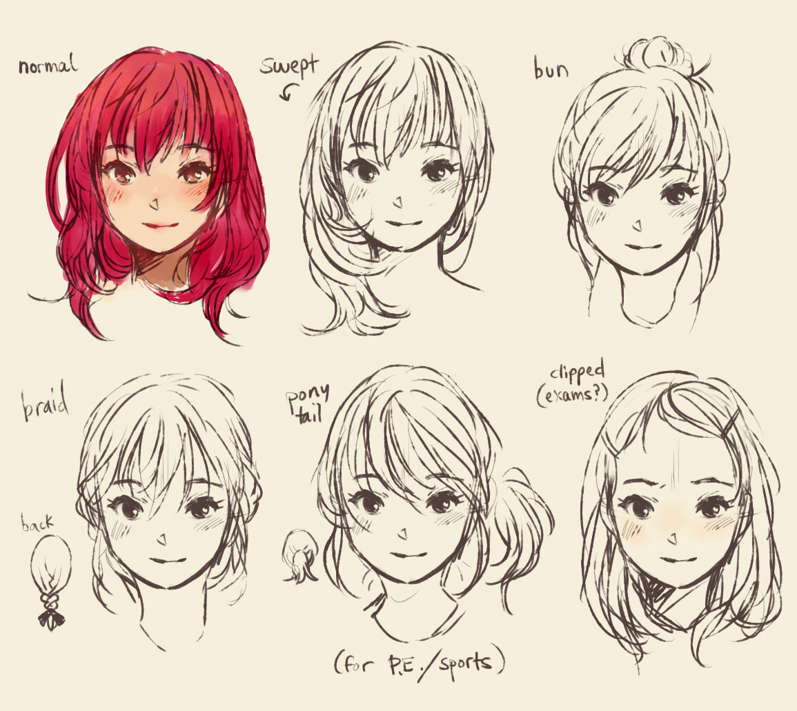 Drawings Of Anime Hairstyles  My Style Doodles Ridley s Bloggie