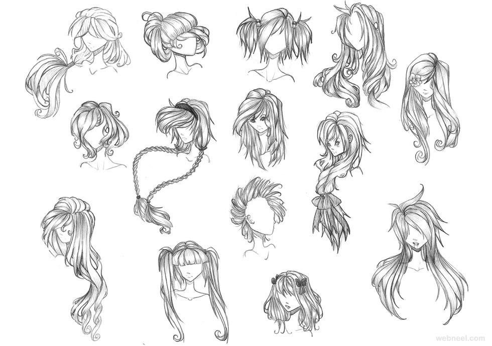 Drawings Of Anime Hairstyles  How to Draw Anime Tutorial with Beautiful Anime Character