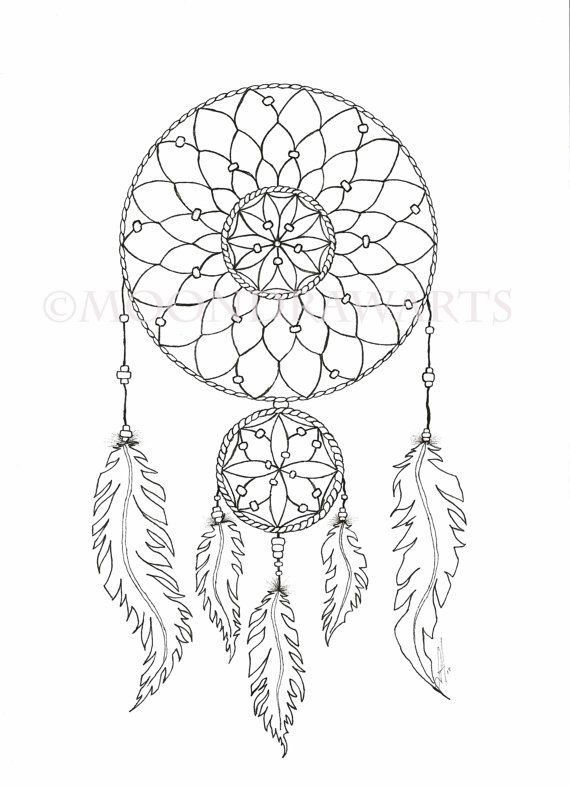 Dreamcatcher Printable Coloring Pages  Dream Catcher Printable Coloring Page Adult by