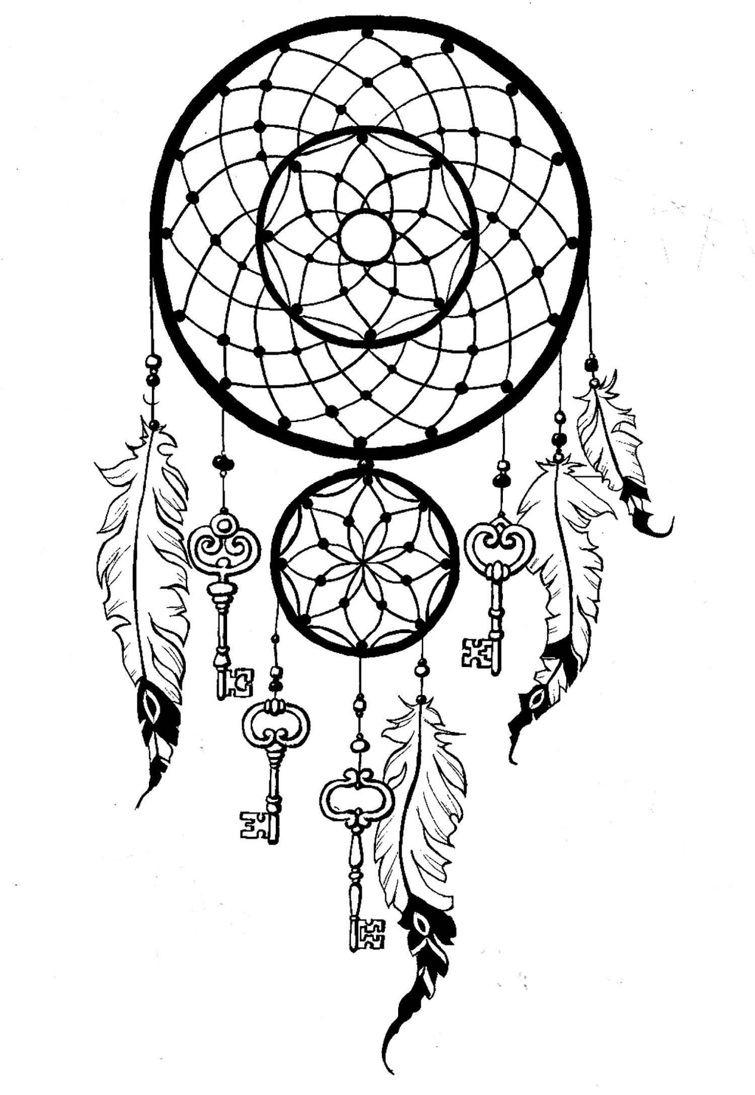 Dreamcatcher Printable Coloring Pages  Dreamcatcher keys Dreamcatchers Adult Coloring Pages