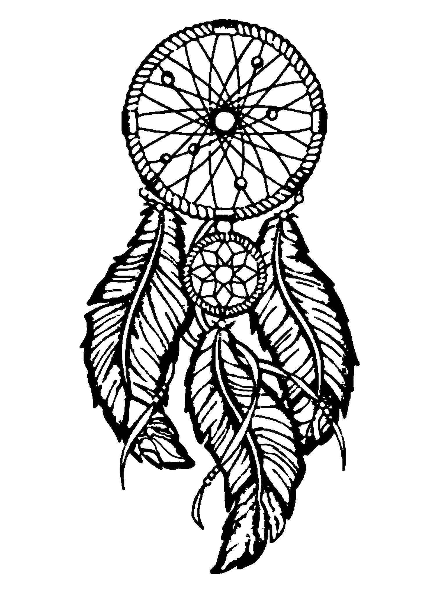 Dreamcatcher Printable Coloring Pages  Dreamcatcher big feathers Dreamcatchers Adult Coloring Pages