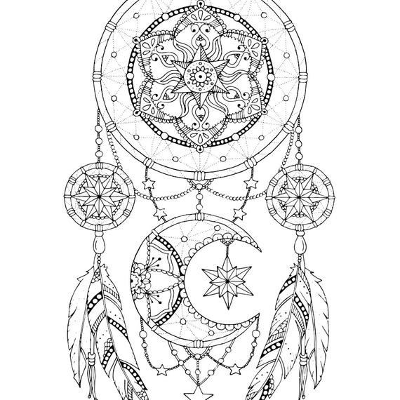 Dreamcatcher Printable Coloring Pages  Dreamcatcher coloring page for adults Mandala adult coloring