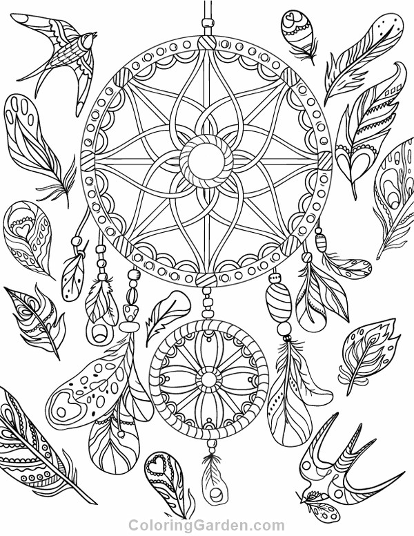 Dreamcatcher Printable Coloring Pages  Dreamcatcher Adult Coloring Page