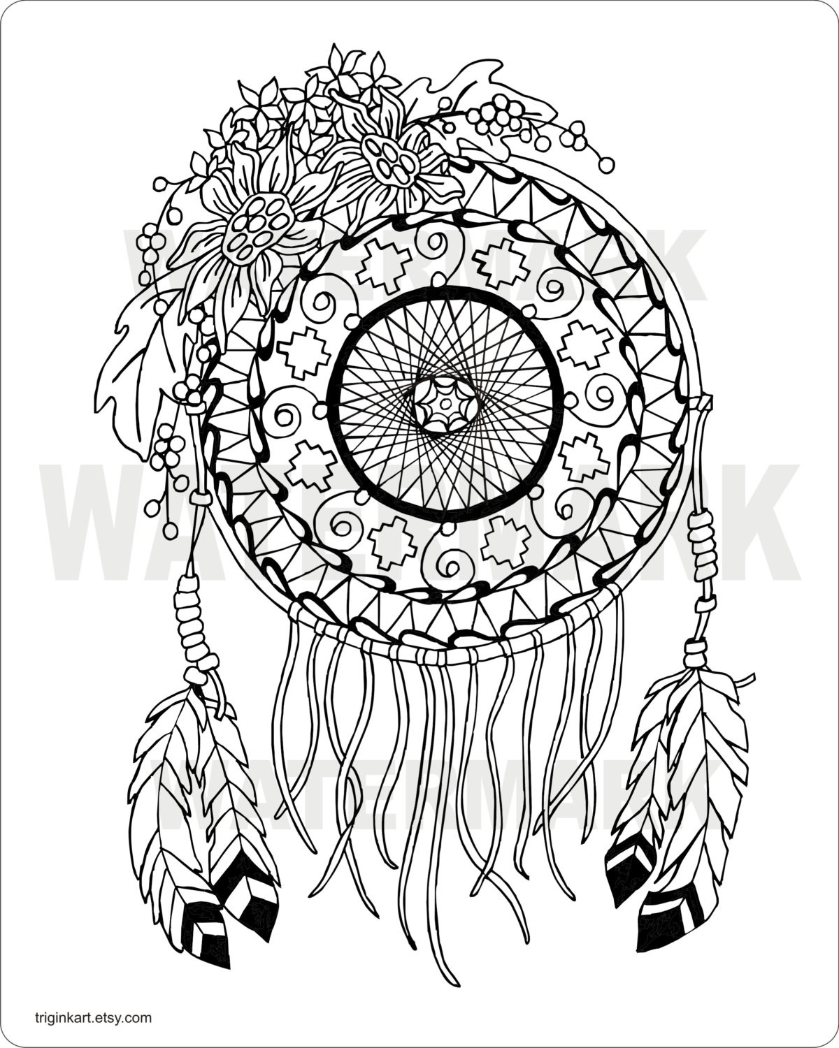 Dreamcatcher Printable Coloring Pages  Sunflower Dream Catcher Adult coloring page