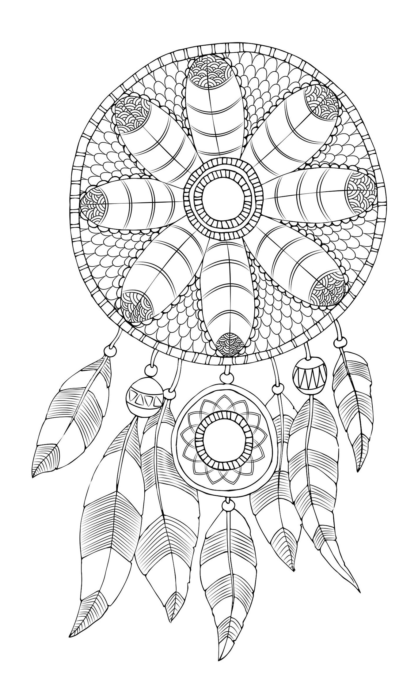 Dreamcatcher Printable Coloring Pages  Free Adult Coloring Page Dreamcatcher Printable Free