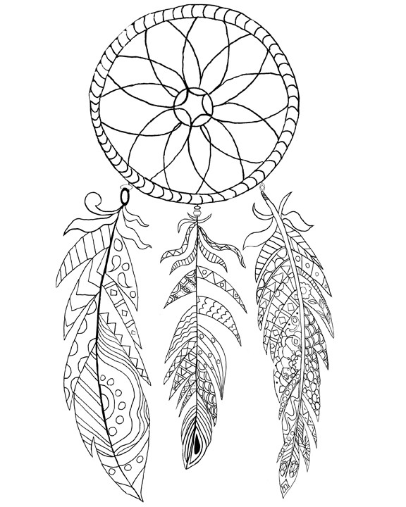 Dreamcatcher Printable Coloring Pages  Free Printable Dream Catcher Coloring Page The Graphics