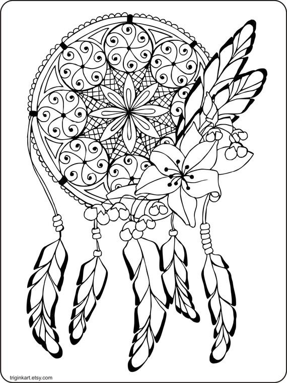 Dreamcatcher Printable Coloring Pages  Dream Catcher Adult coloring page by triginkart on Etsy