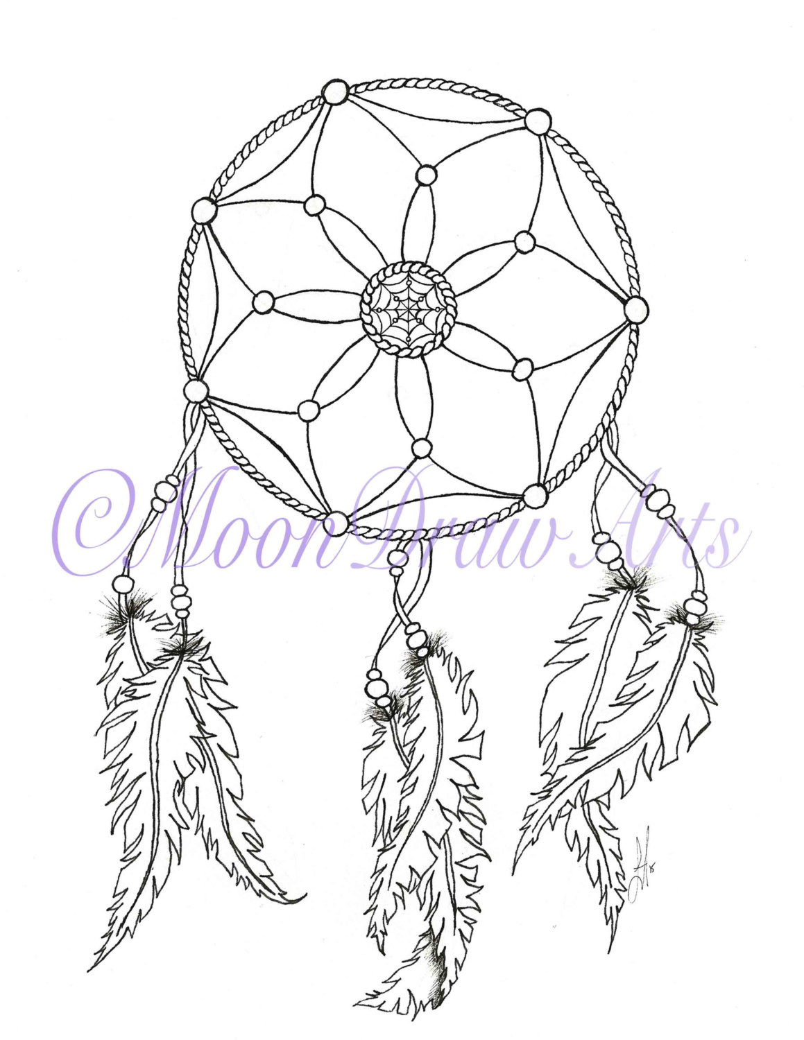 Dreamcatcher Printable Coloring Pages  Dream Catcher Printable Coloring Page Adult by MoonDrawArts