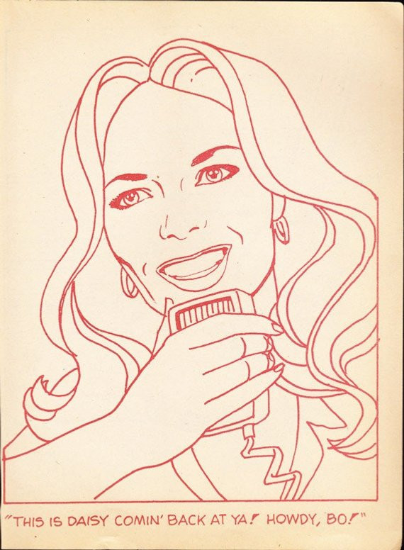 Dukes Of Hazzard Coloring Pages For Kids  Coloring book page DAISY DUKE Dukes of Hazzard Catherine Bach