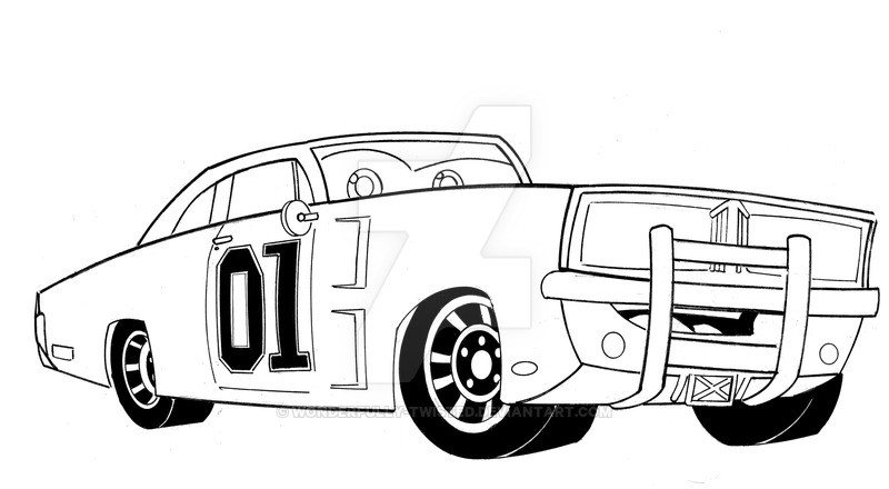 Dukes Of Hazzard Coloring Pages For Kids  General Lee Car Coloring Pages