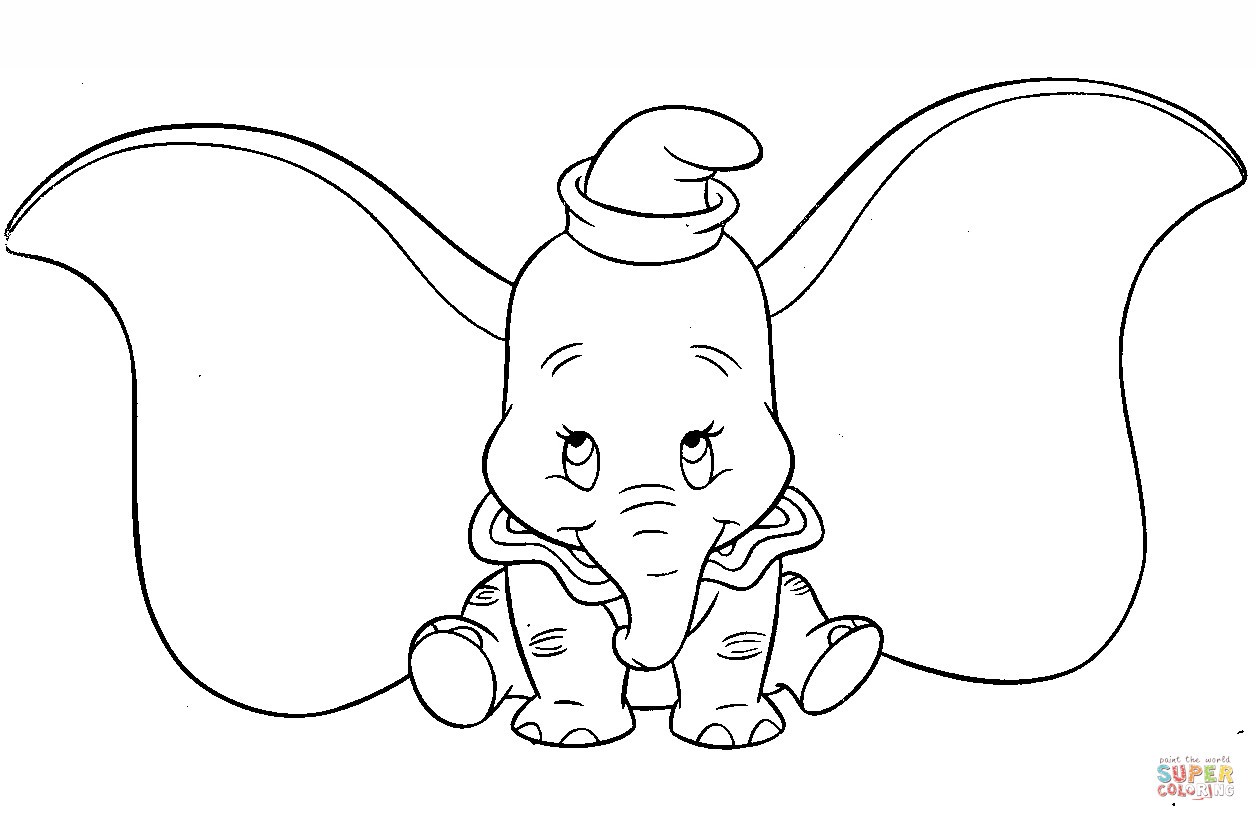 Best ideas about Dumbo Coloring Book Pages . Save or Pin Cute Dumbo coloring page Now.