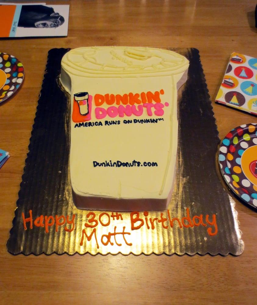 Dunkin Donuts Birthday Cake  My hubby s 30th birthday Dunkin Donuts cake from The Cake