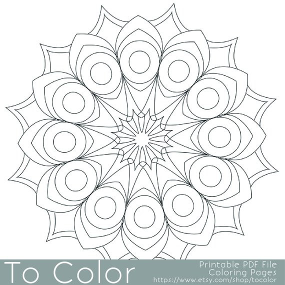 Best ideas about Easy Adult Coloring Books . Save or Pin Items similar to Printable Circular Mandala Easy Coloring Now.