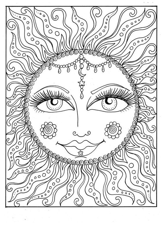 Best ideas about Easy Adult Coloring Books . Save or Pin Instant Download SUN Summer Coloring page Adult Coloring Now.
