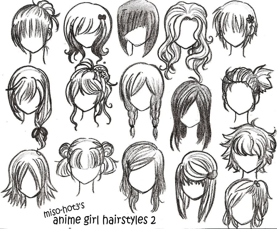 Easy Hairstyles To Draw  Anime Girl Hairstyles Miso