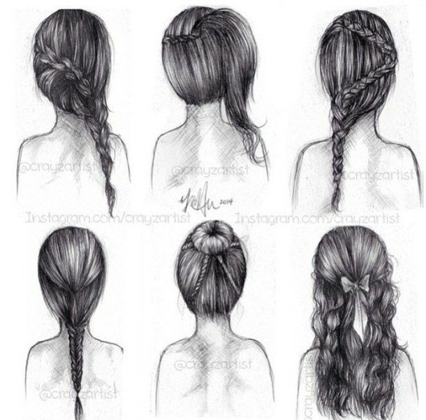 Easy Hairstyles To Draw  Drawn long hair long braid Pencil and in color drawn