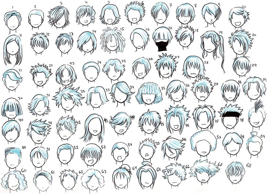 Easy Hairstyles To Draw  o Desenhar Mangá Gabaritos de Cabelos