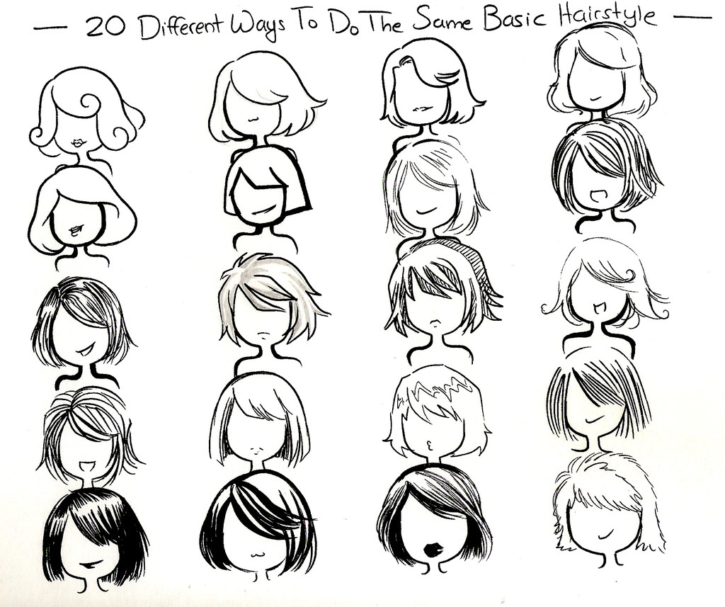Easy Hairstyles To Draw  twenty ways basic hairstyle by NeonGenesisEVARei on