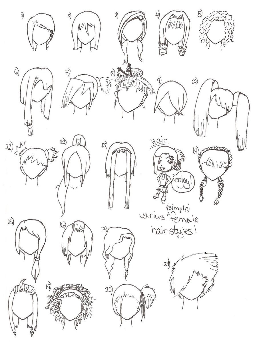 Easy Hairstyles To Draw  The gallery for How To Draw Simple Hair
