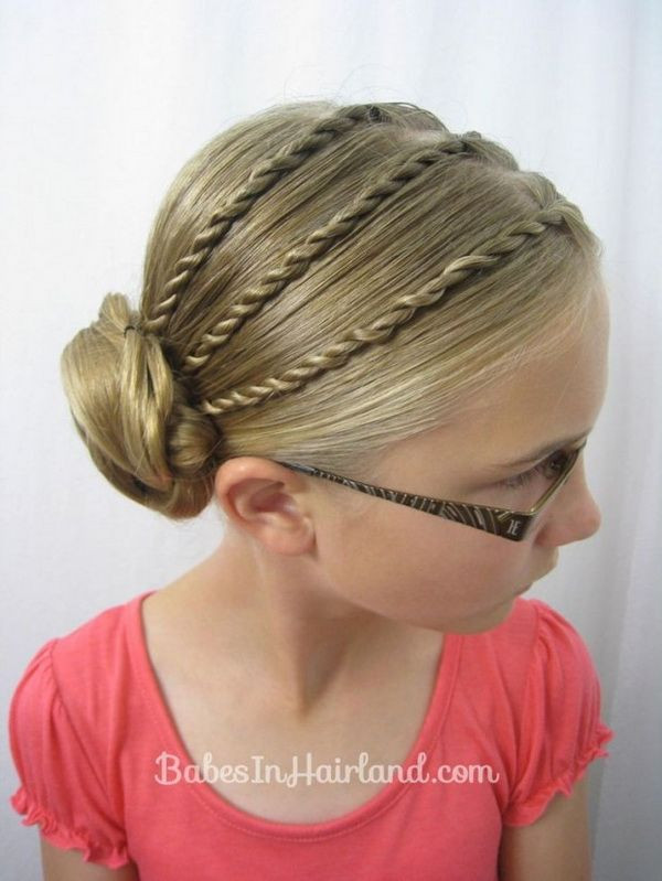 Easy Kid Hairstyles  Cool braided updo for girls Back to School Hair Ideas