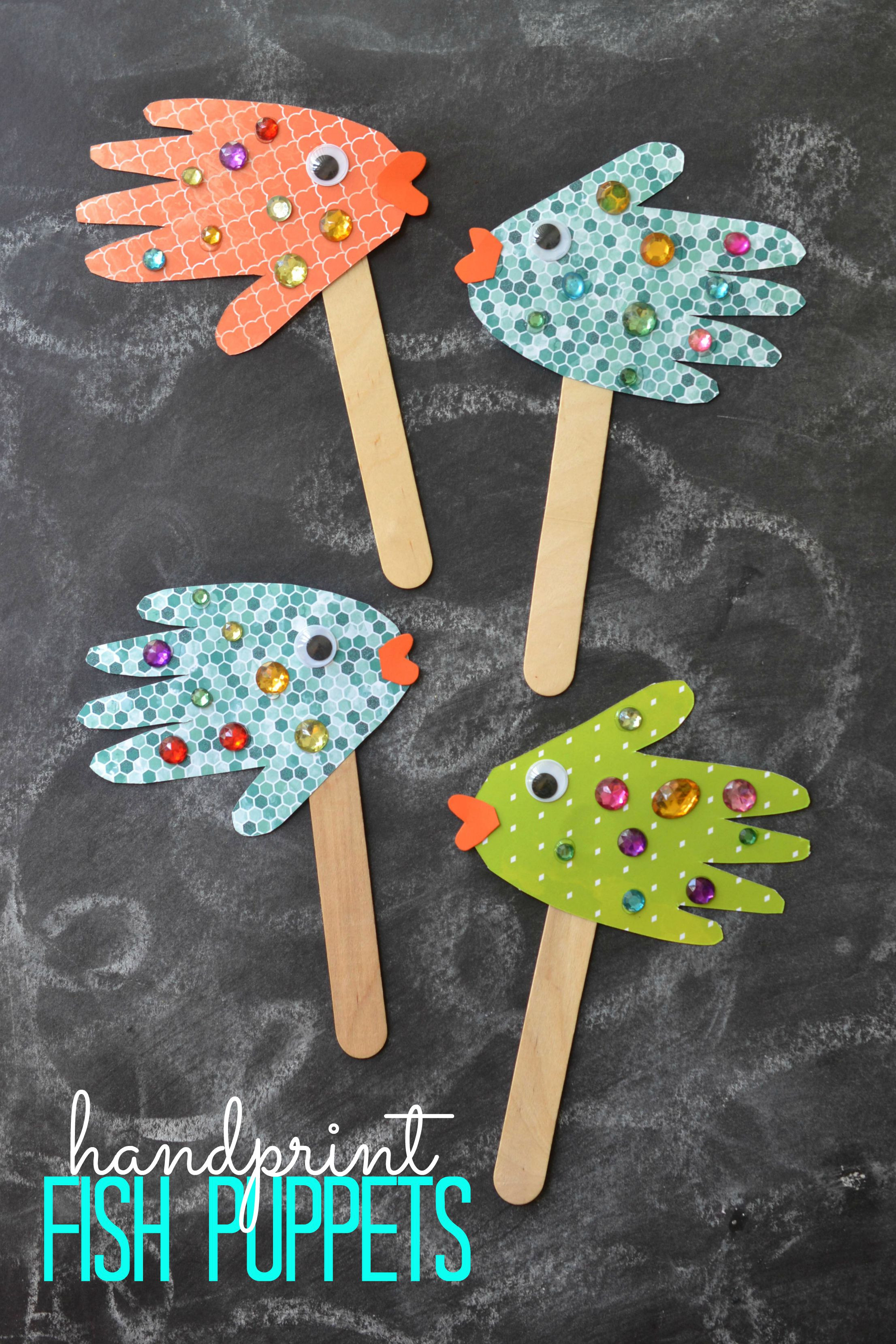 Easy Projects For Preschoolers  Handprint Fish Puppets Kid Craft Glued To My Crafts