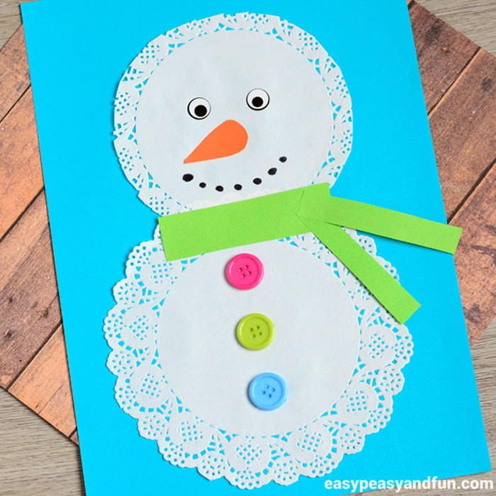 Easy Winter Crafts For Preschoolers  Doily Snowman Craft Easy Peasy and Fun