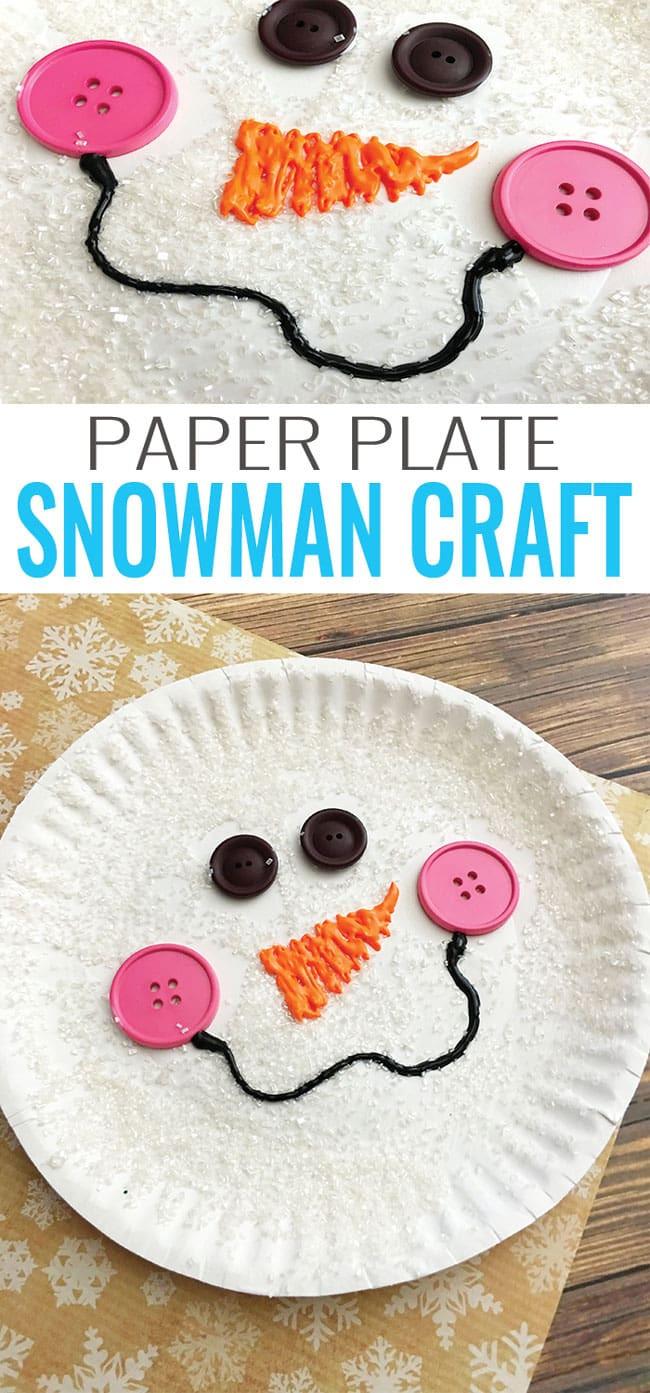 Easy Winter Crafts For Preschoolers  Paper Plate Snowman Craft Winter Crafts for Kids Easy