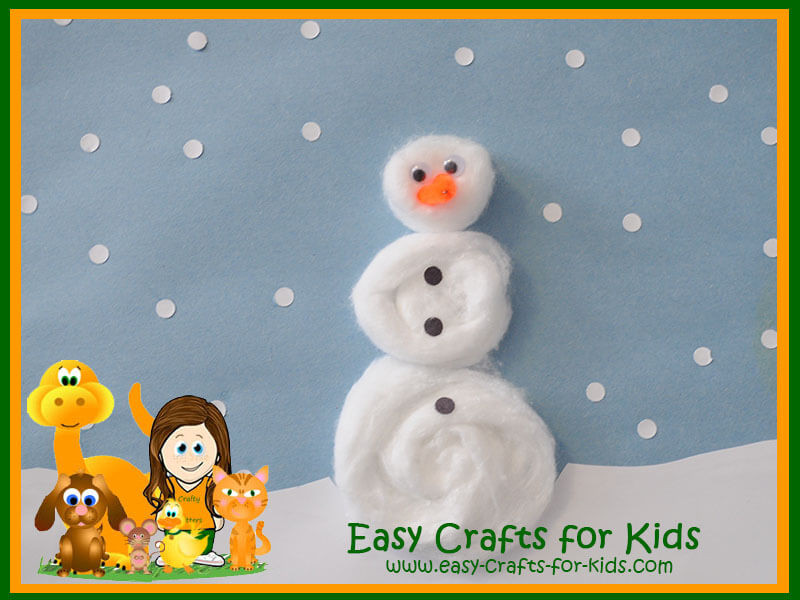 Easy Winter Crafts For Preschoolers  Kids Winter Crafts Cotton balls turned into fun snowman