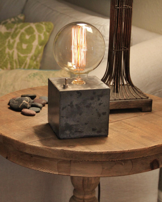 Best ideas about Edison Desk Lamp . Save or Pin Concrete cube desk lamp Edison Lamp Now.