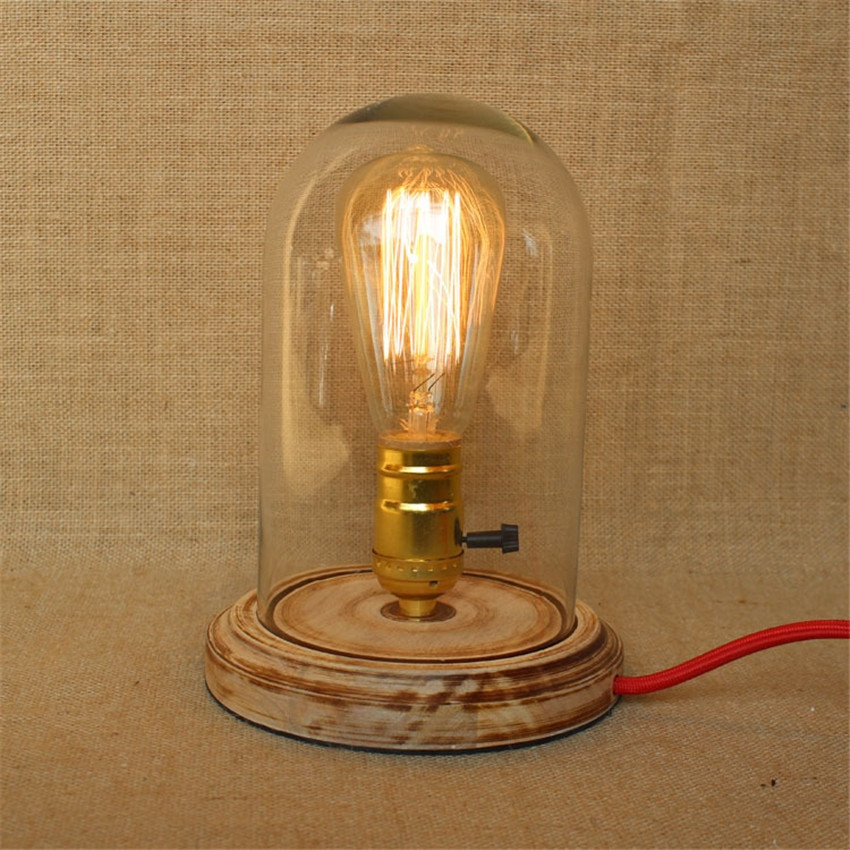 Best ideas about Edison Desk Lamp . Save or Pin Vintage Wooden base &glass Lampshade Table Lamps Retro Now.