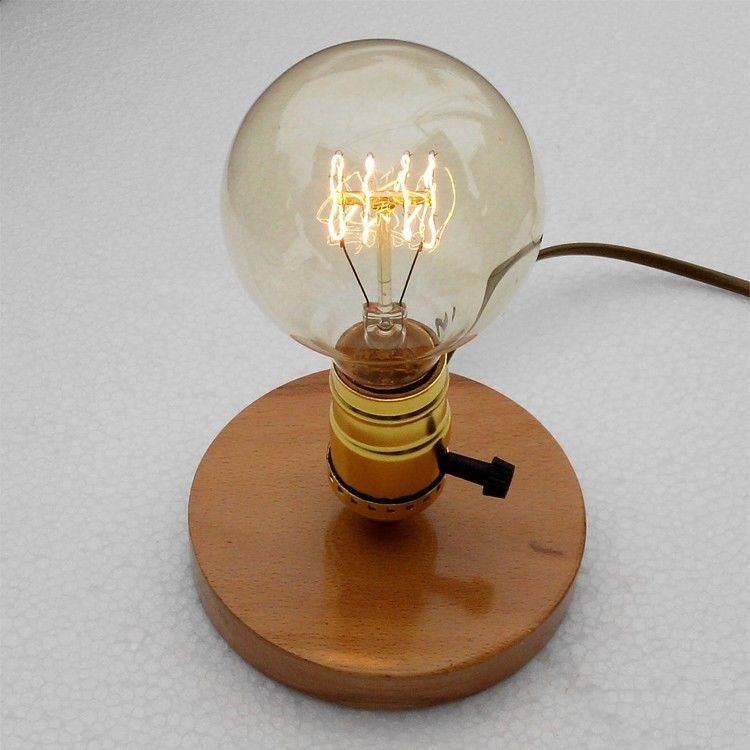 Best ideas about Edison Desk Lamp . Save or Pin Wooden OLD Vintage Edison Light bulb table Base Bar lamp Now.