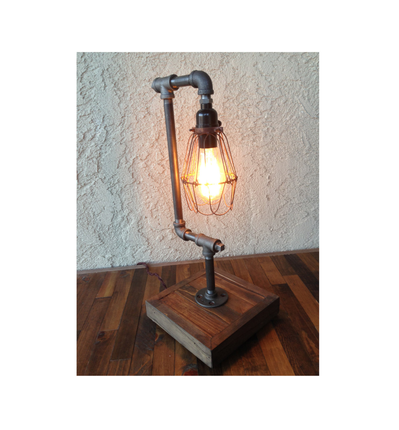 Best ideas about Edison Desk Lamp . Save or Pin Edison Desk Lamp BULB INCLUDED Steel Pipe Reclaimed Wood Now.