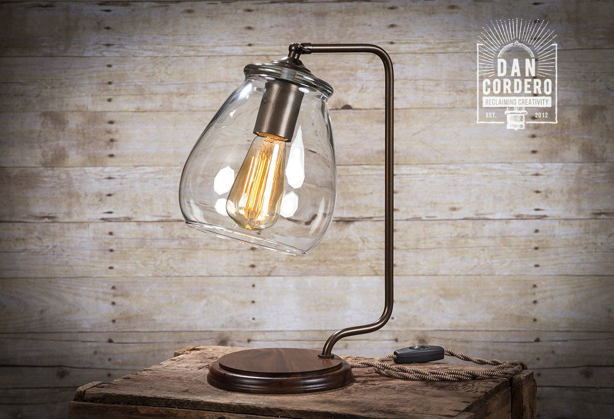 Best ideas about Edison Desk Lamp . Save or Pin Glass Shade Edison Bulb Table Lamp Bronze Desk Lamp Now.
