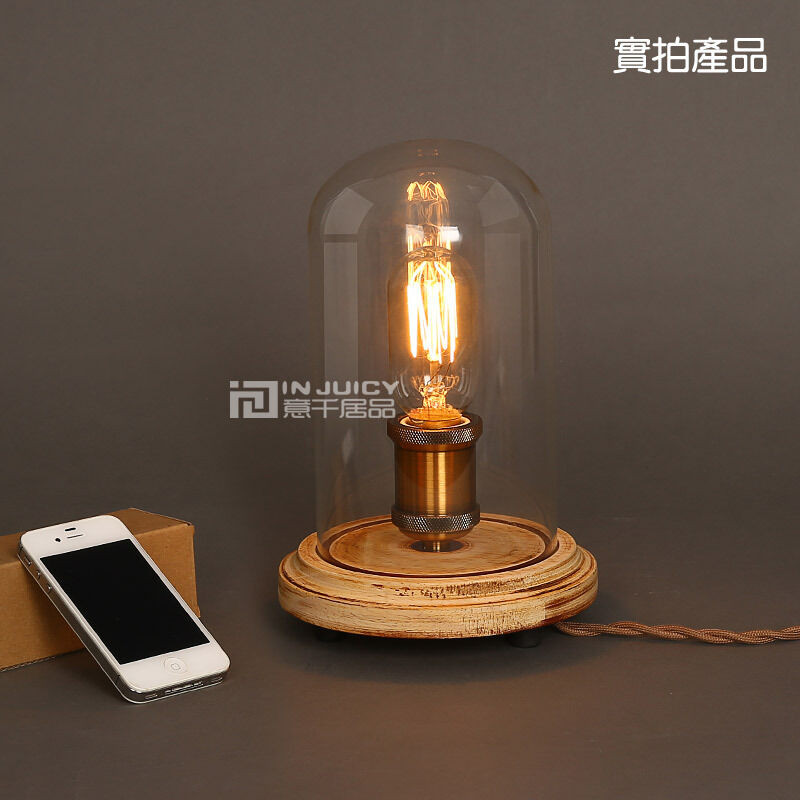 Best ideas about Edison Desk Lamp . Save or Pin Vintage Industrial Table Light Glass Edison Bulb Wooden Now.
