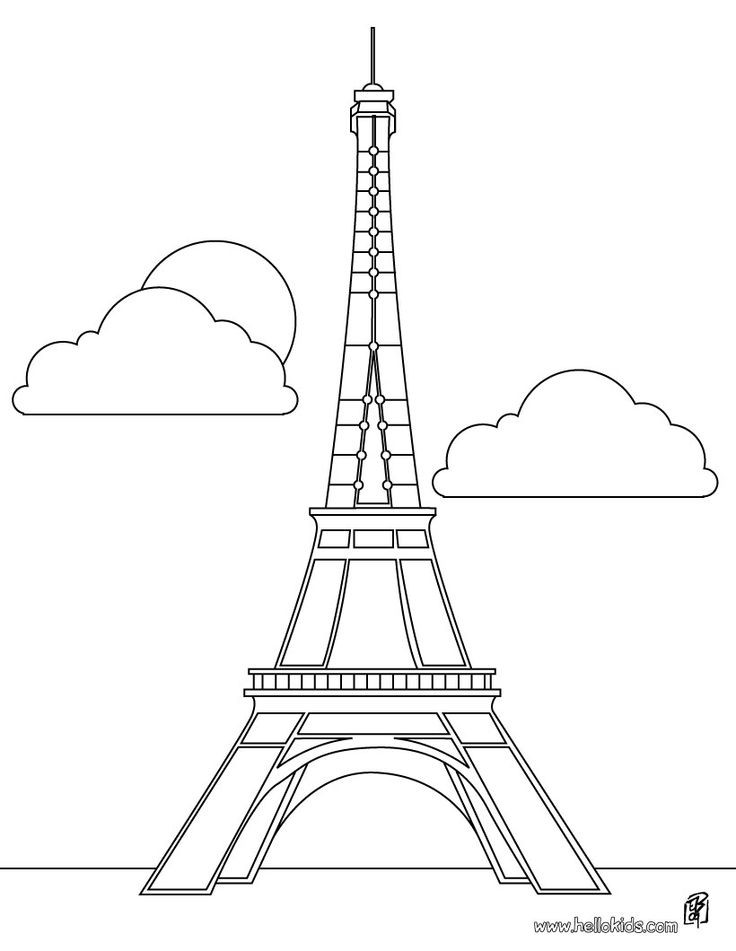Eiffel Tower Coloring Sheets For Girls  Free Eiffel Tower Clip Art Clipartix