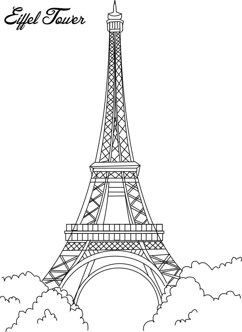 Eiffel Tower Coloring Sheets For Girls  Free Printable Eiffel Tower Coloring Pages For Kids