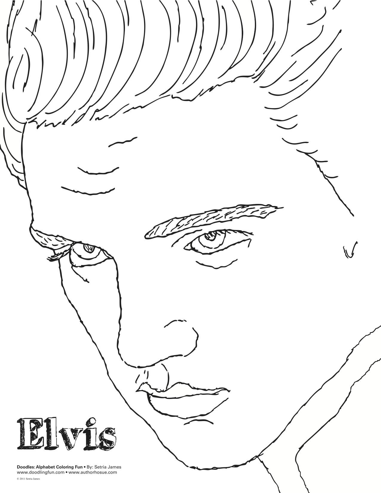 Elvis Presley Coloring Pages  Elvis Coloring Sheet