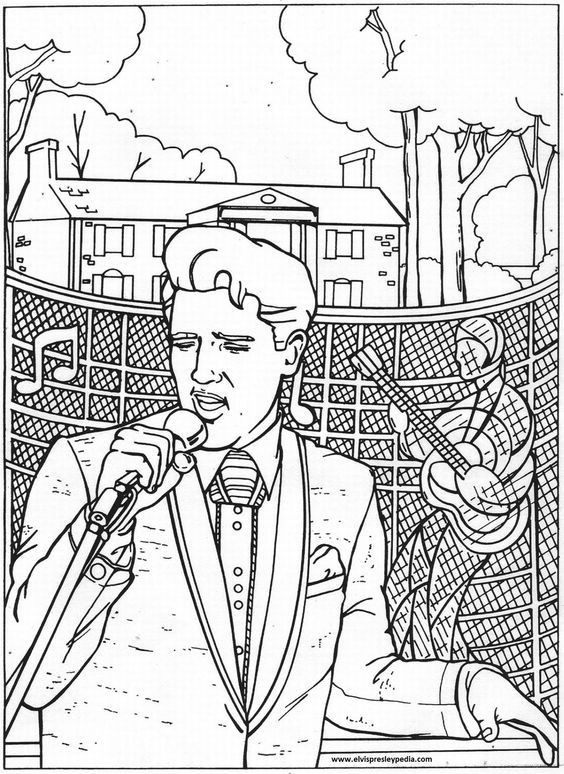 Elvis Presley Coloring Pages  Elvis Presley Coloring Pages Coloring Home