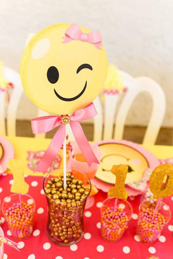Emoji Birthday Decorations  Kara s Party Ideas Pink & Gold Emoji Birthday Party