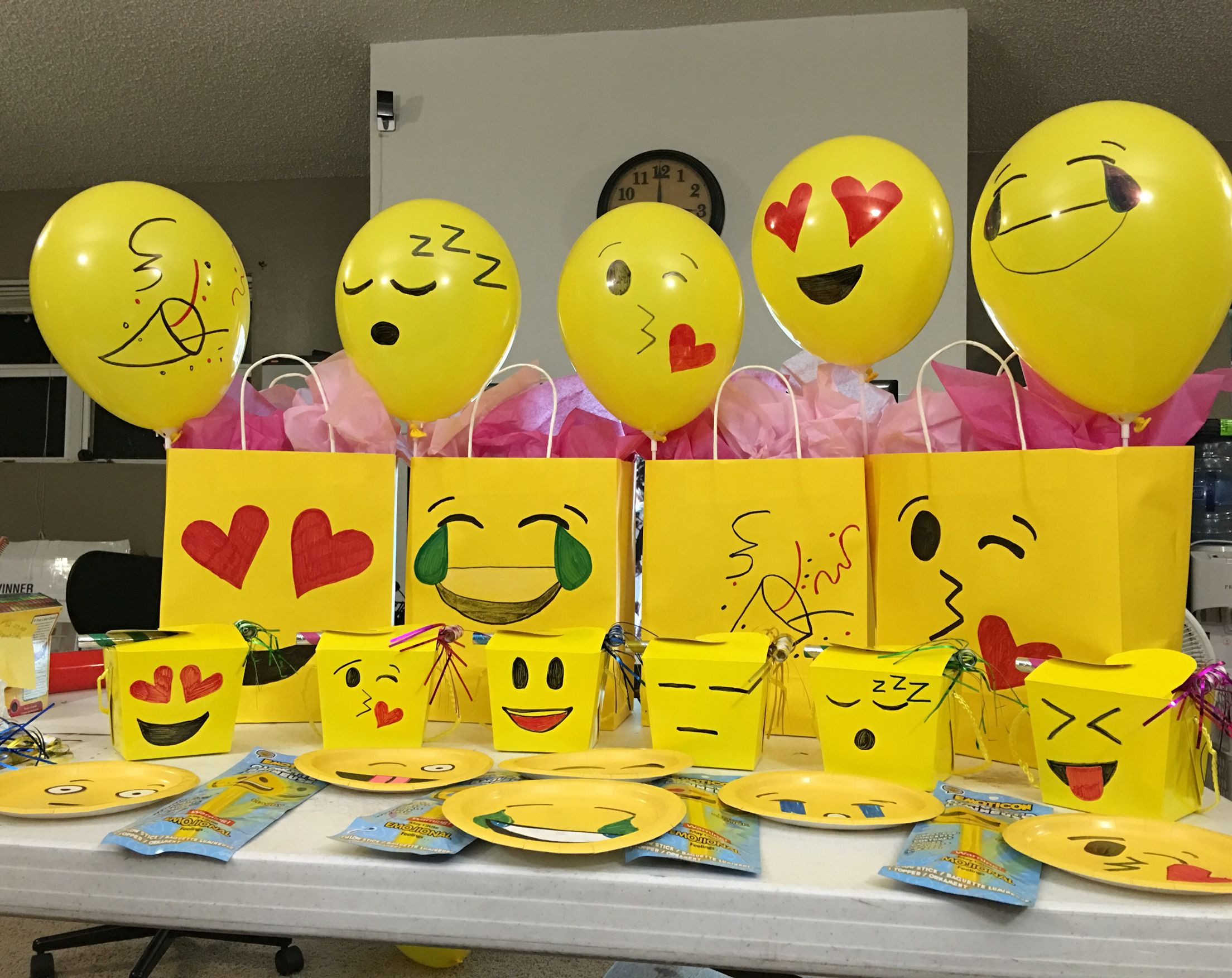 Emoji Birthday Decorations  My husband and I made these emoji decorations for our
